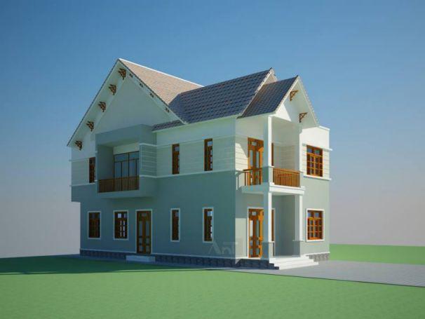 Miễn phí bản vẽ biệt thự mini 2 tầng đẹp giá rẻ 8mx15,5m