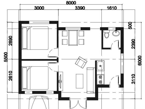Mặt bằng nhà cấp 4 (6x8m)