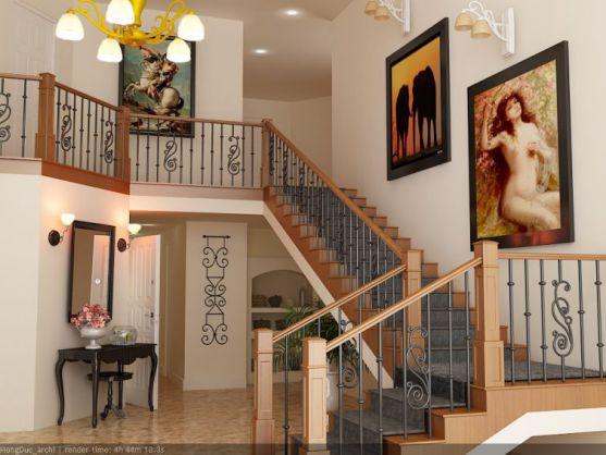 Mẫu cầu thang sắt tay vịn gỗ đẹp -> Hình 1
