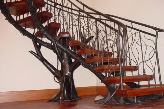 Mẫu cầu thang sắt tay vịn gỗ đẹp -> Hình 3
