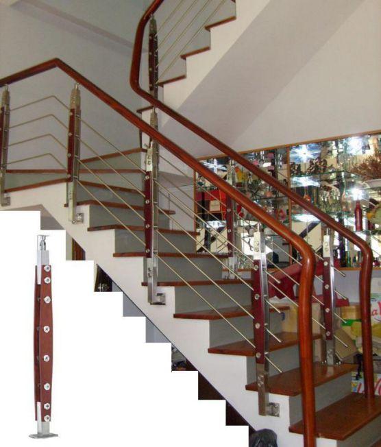 Mẫu cầu thang sắt tay vịn gỗ đẹp -> Hình 7