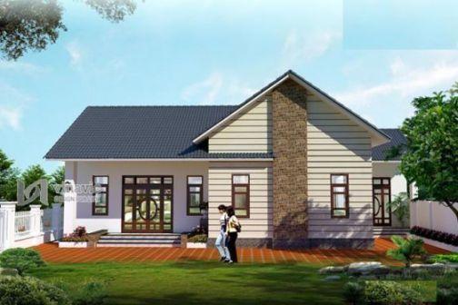 Mẫu thiết kế nhà cấp 4 mái thái đẹp (hình 1)
