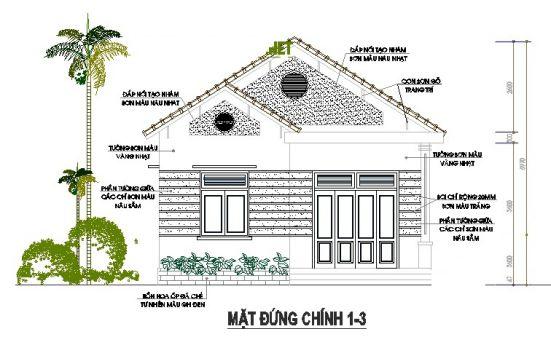 Bản vẽ mẫu thiết kế nhà cấp 4 rộng 7m đẹp Lung Linh
