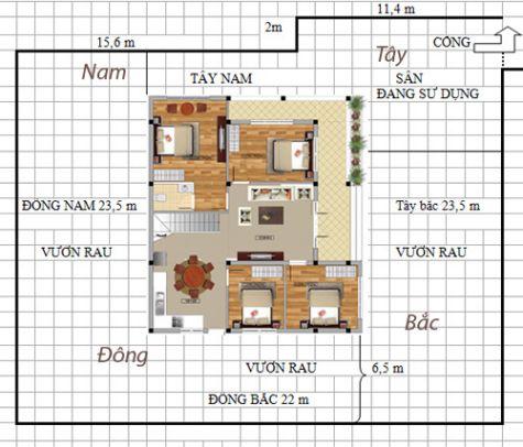Mặt bằng tổng thể và hướng của ngôi nhà