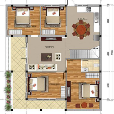 Mặt bằng bố trí các phòng trong tầng 1