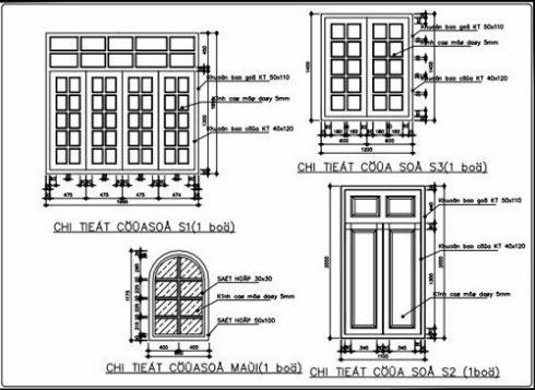 Bản vẽ chi tiết cửa sổ D1