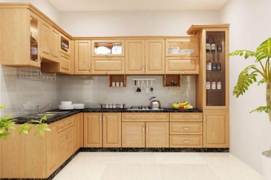 Mẫu tủ bếp gỗ đơn giản