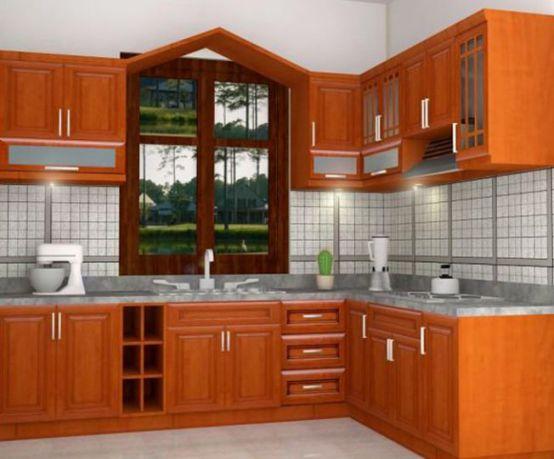 Mẫu tủ bếp gỗ đơn giản  Top 10 những mẫu bếp đẹp cho nhà nhỏ 2019 chi phí Rẻ mau tu bep go don gian