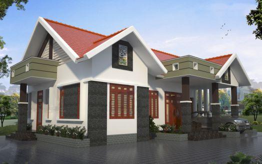 Phương án 10 thiết kế nhà cấp 4 mái thái đẹp diện tích 7 x 19