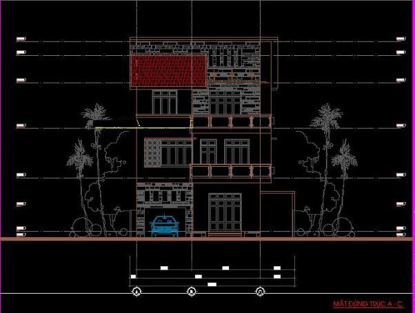 Bản vẽ thiết kế nhà chiều ngang 9m – Kiểu biệt thự đẹp 2019