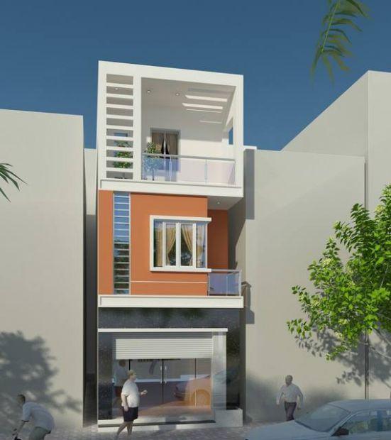Phối cảnh mặt tiền nhà phố 3 tầng hiện đại diện tích 5x14m