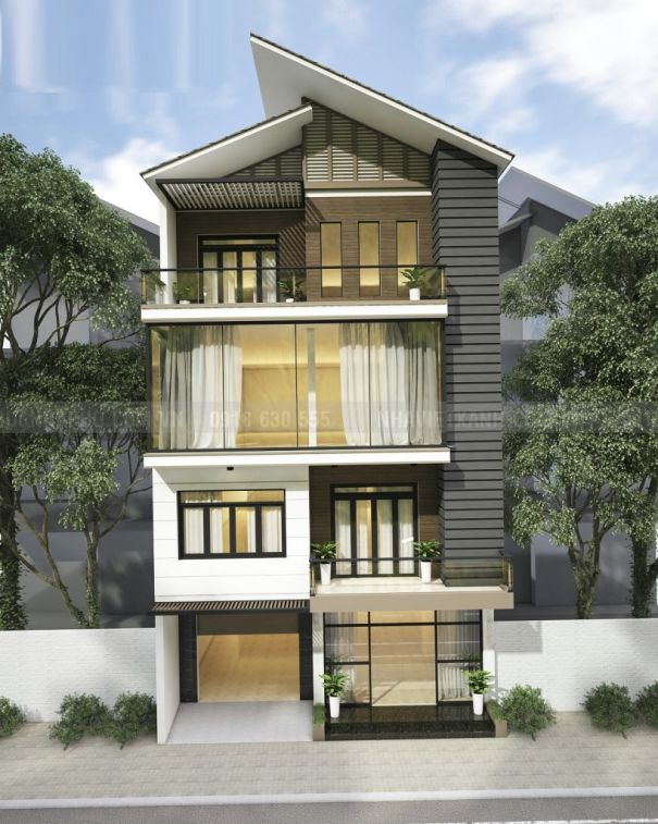 BTS mẫu thiết kế nhà phố mặt tiền 9m kết hợp Kinh Doanh