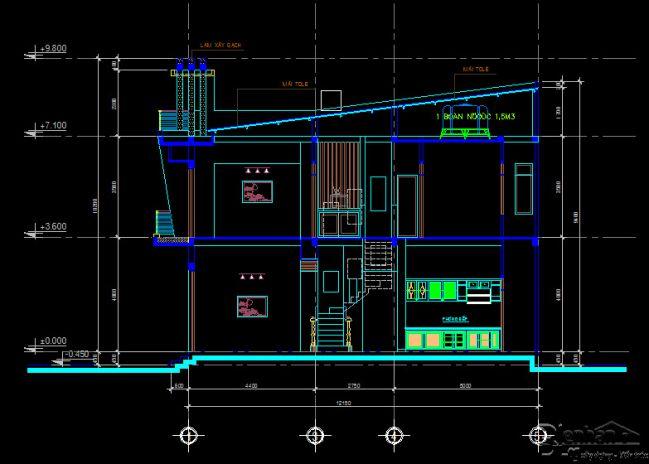Full bản vẽ kết cấu nhà phố 2 tầng trên diện tích 5mx16m