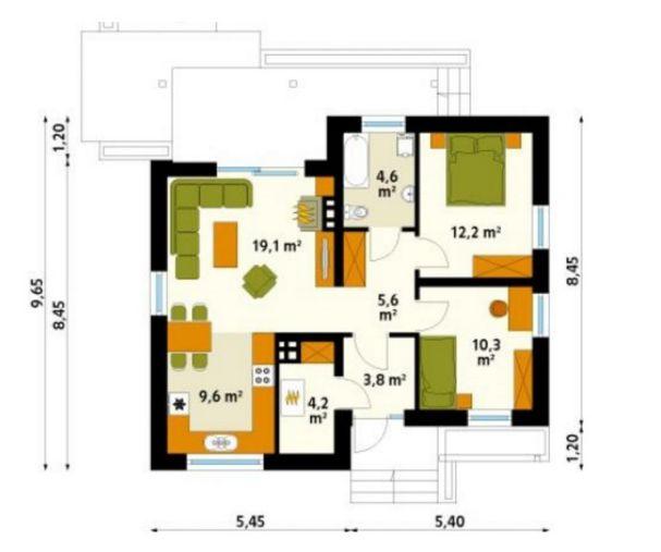 Mặt bằng kỹ thuật – bản vẽ mẫu nhà cấp 4 đẹp 2 phòng ngủ