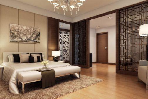 Phòng ngủ được thiết kế với tông màu tối, không gian ấm cúng.