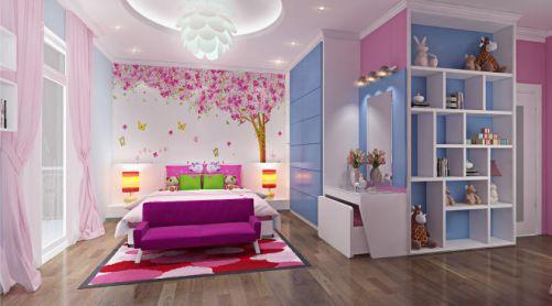Phòng ngủ dành cho con nhỏ, với màu hồng tươi tắn pha trộn một ít màu xanh nhẹ nhàng.