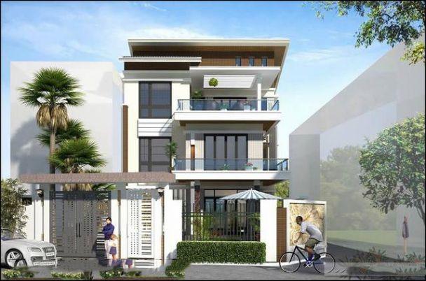 Phối cảnh 3D mẫu nhà biệt thự 3 tầng phong cách Hiện Đại