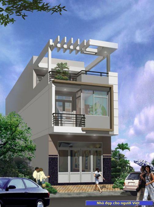 Mẫu nhà 2 tầng 5x20m -> Hình 1