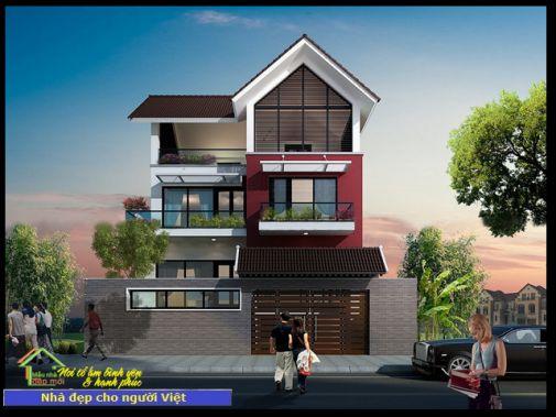 Mẫu nhà 2 tầng 9x10m -> Hình 1