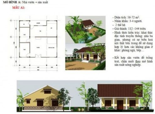 Mẫu nhà 3 gian 2 trái ở nông thôn phong cách Truyền Thống