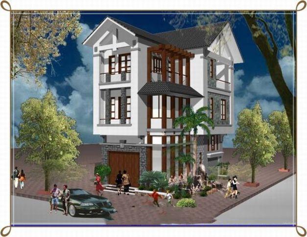 Phối cảnh mẫu nhà phố 3 tầng mái thái