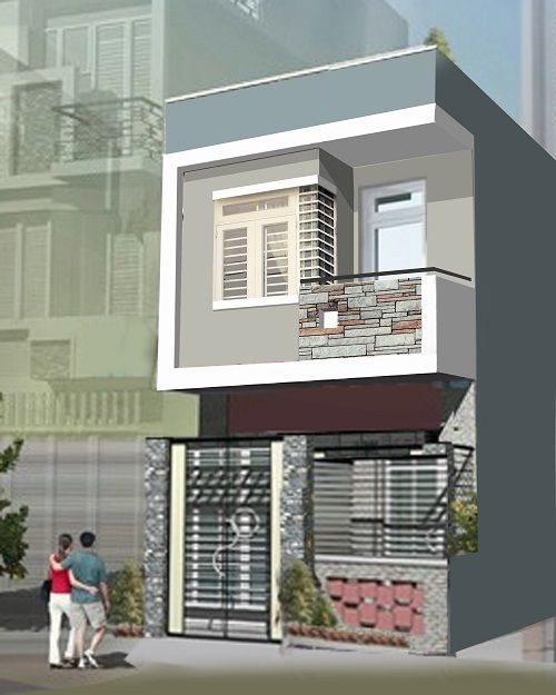 Mẫu nhà phố 1 tầng đơn giản (hình 2)