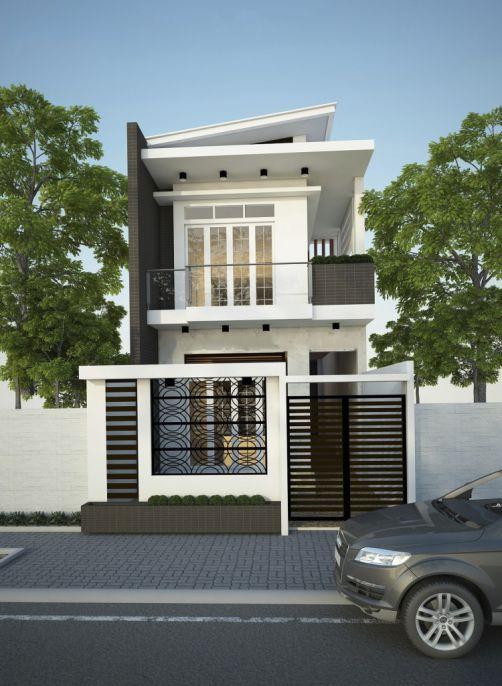 Mẫu nhà phố 2 tầng 2 mặt tiền (hình 1)