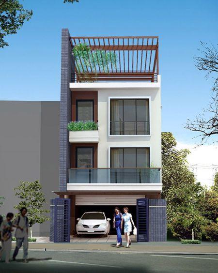 Mẫu nhà phố đẹp có gara (hình 2)