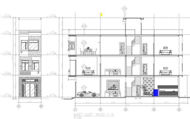 Quà tặng tháng 4 – File bản vẽ cad mẫu nhà phố mặt tiền 4m