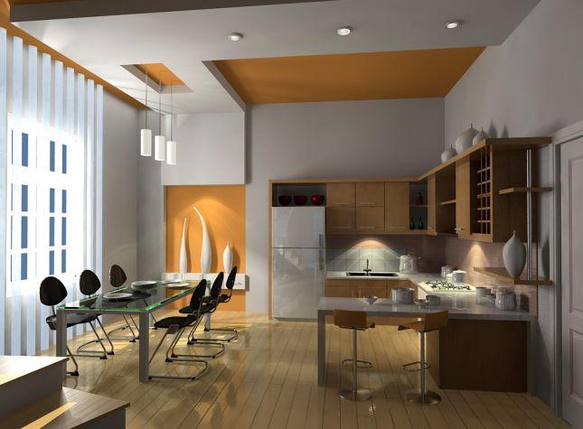 Mẫu trần thạch cao nhà bếp -> Hình 1