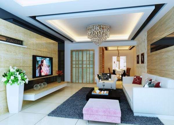Mẫu trần thạch cao cho phòng khách phong cách hiện đại -> Hình 2