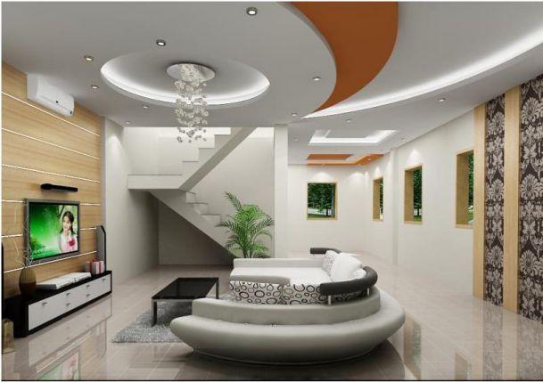 Mẫu trần thạch cao cho phòng khách phong cách hiện đại -> Hình 8