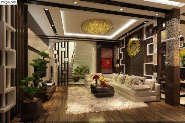 Mẫu trần thạch cao cho phòng khách phong cách hiện đại -> Hình 9