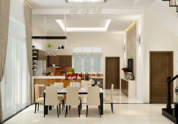 Trần thạch cao đẹp nhà ống cho nhà bếp + phòng ăn -> Mẫu 2