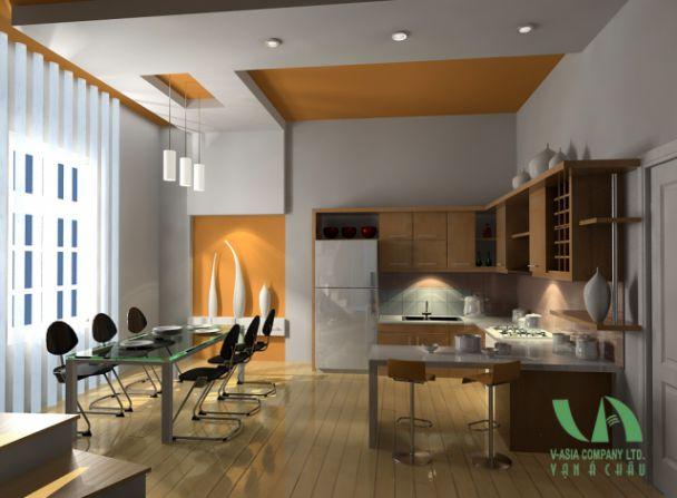 Trần thạch cao đẹp nhà ống cho nhà bếp + phòng ăn -> Mẫu 3