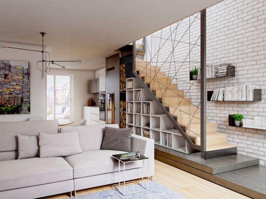 Một số mẫu thiết kế phòng khách có kết hợp cầu thang - Mẫu 1