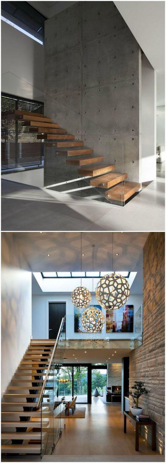 Một số mẫu thiết kế phòng khách có kết hợp cầu thang - Mẫu 6