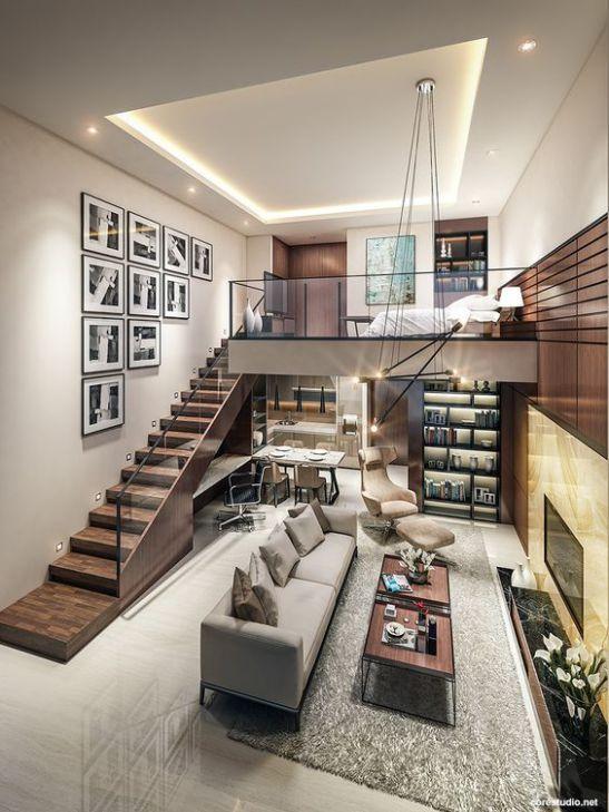 Một số mẫu thiết kế phòng khách có kết hợp cầu thang - Mẫu 7