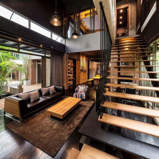 Một số mẫu thiết kế phòng khách có kết hợp cầu thang - Mẫu 8