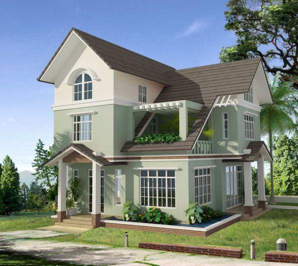 Nhà mái thái 2 tầng có sân vườn