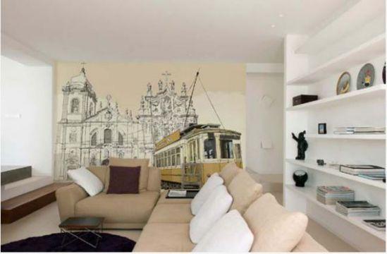 Mẫu phòng khách với tranh dán tường - Hình 10