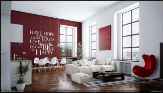 Mẫu phòng khách với tranh dán tường - Hình 9