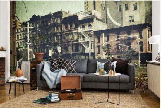 Mẫu phòng khách với tranh dán tường - Hình 8