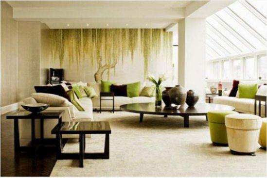 Mẫu phòng khách với tranh dán tường - Hình 6