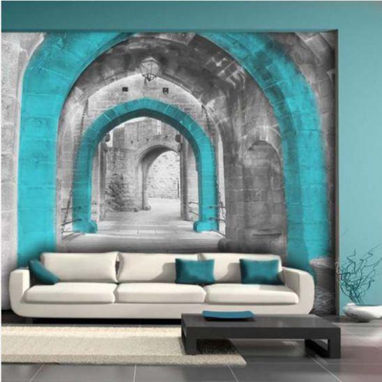 Mẫu phòng khách với tranh dán tường - Hình 5