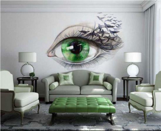 Mẫu phòng khách với tranh dán tường - Hình 2