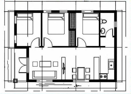Bản vẽ sơ đồ bên trong nhà.