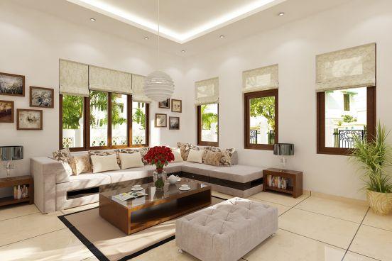 Phòng khách sử dụng nhiều cửa sổ và có nhiều ánh sáng tự nhiên.