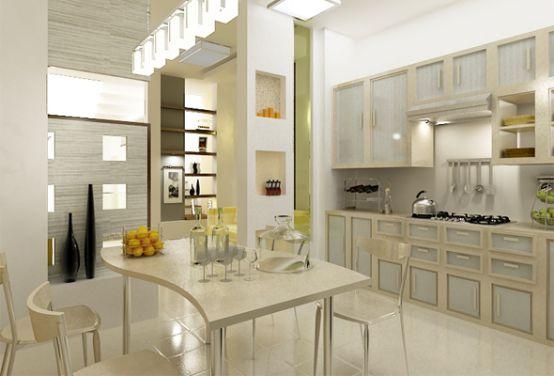 Phòng bếp được thiết kế liền với bàn ăn với tông màu sữa mang vẻ đẹp sang trọng.