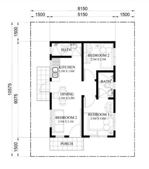 Bản vẽ chi tiết mẫu nhà cấp 4 đẹp 2 phòng ngủ.